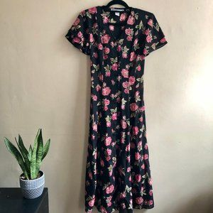 Vintage Rose Flutter Sleeve Maxi Buttondown Dress